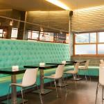 Las mesas del Bar Moka en la actualidad