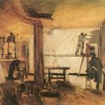 El cuadro que aquí se reproduce pintado por Jesús Basiano representa a Crispín subido en el andamio