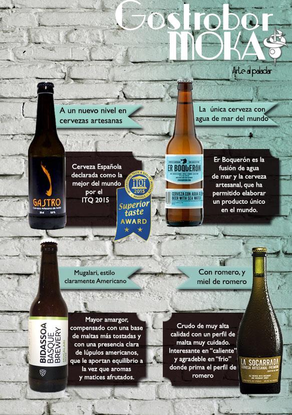 Selección de cervezas artesanas en el Gastrobar Moka